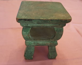 Miniature Vintage Handmade Table Kitchen Side Green Wood Carved