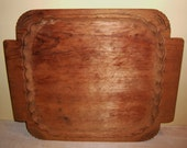 TRAY Antique Wood Carved Wooden Hand Made Folk Art Primitive Treen Rustic Serving Platter