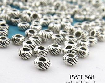3mm Mini Pewter Beads, Antique Silver, Tiny Saucer Spacer, Ribbed Beads (PWT 568) 75pcs BlueEchoBeads