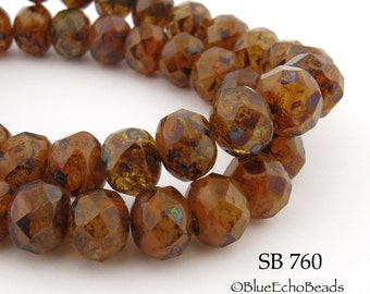 8mm Czech Glass Beads Rondelle, Paprika Spice, 8mm x 5mm (SB 760) 12 pcs BlueEchoBeads