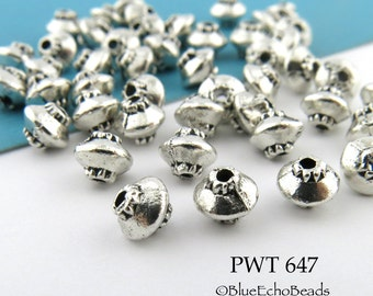 4mm Small Spacer Beads Pewter Top Antique Silver (PWT 647) 50 pcs BlueEchoBeads