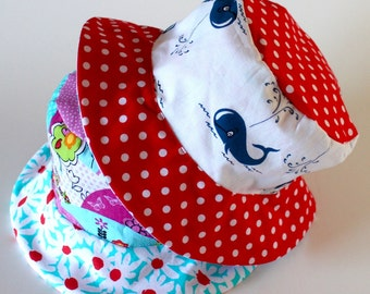Toddler Girl's Bucket Sun Hat, Summer Beach Wear, Red White and Blue, Polka Dots