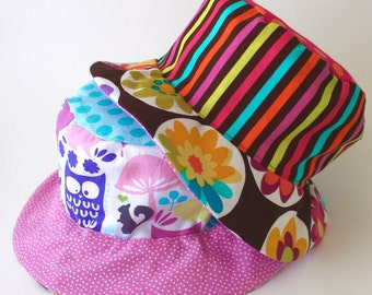 Baby sun protective hat, bucket sun hat with flowers and owls, reversible