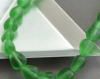 Vintage Glass Transparent Matte Green Teardrop Beads 10mm x 8mm (4)
