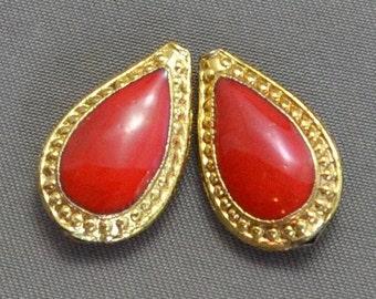 Cloisonne Enamel Teardrop Beads Red/Gold color 12mm x 19mm (2)