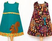 WOODLAND dress, fall dress, autumn dress, girls dress, toddler dress, baby girl dress, reversible dress, squirrel dress, applique dress