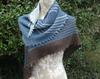 Teal Blue & Cocoa Brown Hand Knit Triangular Shawl