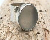 Sea Glass Ring Sterling Silver Wide Band Rustic Ring Grey Sea Glass