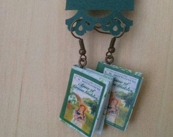 Mini Anne of Green Gables Earrings - Handmade Book Jewelry - Handmade Book Earrings - Mini Book Jewelry - Anne Shirley Mini Book Earrings