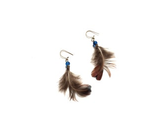Handmade Feather, Brass and Glass Earrings