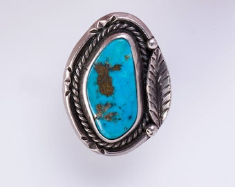 Navajo Turquoise Ring - 70s Natural Stone & Sterling -  sz 7