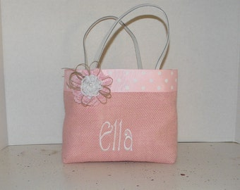 Pink Burlap  Gracie  Size Monogrammed, Personalized Tote, Easter, Valentines. Flower Girl, Bridesmaids, Wedding, Birthday, Shower gift, Bag