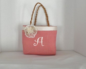 Hot Pink Gracie   Size Monogrammed, Personalized Tote, Flower Girl, Bridesmaids, Wedding, Birthday, Shower gift, Bag