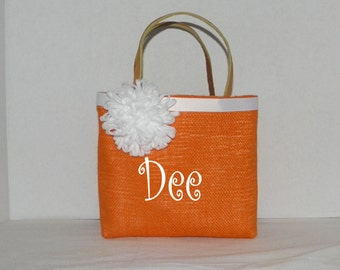 Orange Burlap Gracie   Size Monogrammed, Personalized Tote, Flower Girl, Bridesmaids, Wedding, Birthday, Shower gift, Bag