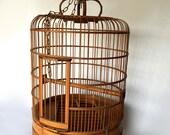Large Vintage Ornate Wooden Birdcage