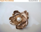 Summer Clear Out SALE Vintage Gold Toned Flower Brooch with Pearl