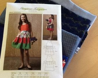 Girls Dress Sewing Pattern , Tween Dress Sewing pattern, Girls dress pattern with fabric, tween dress pattern, dress sewing pattern w/fabric