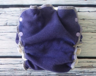 Medium Long Purple Wool Interlock Side Snap Wrap Cover by Soothe Baby