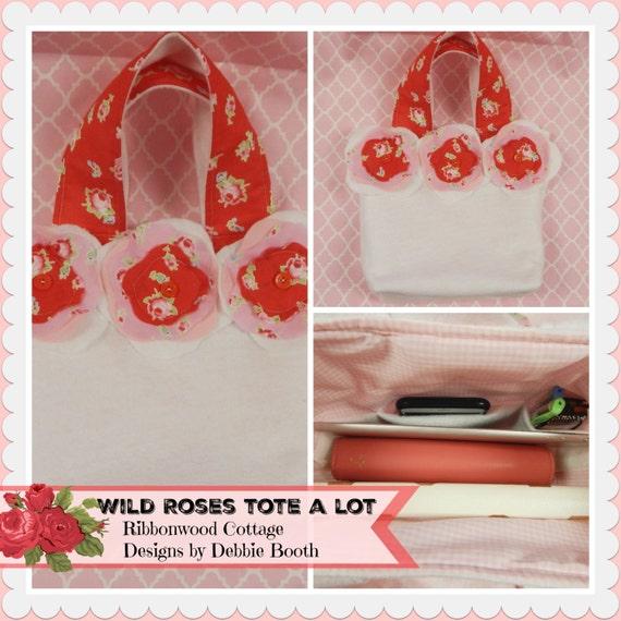"""Sewing Pattern Wild Roses Tote Bago PDF 13"""" x 13"""" Pattern"""