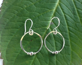 Silver Hoop Earrings with Tiny Silver Beads, Sterling Silver,  Hand Forged Medium Hoop, Metal Jewelry