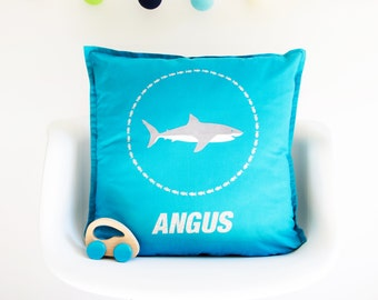 Personalised Shark Cushion -personalized - sparkly pillow - shark - boy's bedroom - gift for boy - glitter - sea life - gift for ocean lover