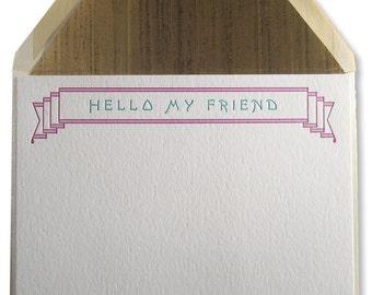 Letterpress Blue Banner Stationery, Hello My Friend, friendship, social flat cards, teal banner, art deco, art nouveau