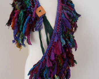 recycled silk boho chic little tattered scarf earthy dark forest jewels  handknitted by plumfish