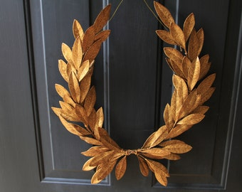 Year-round Everyday Decor  Antique Gold Laurel Bay Leaf Crest Wreath  Peace Victory  Wedding Olympic Holiday Christmas Faux Artificial