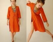 SALE SALE India Batik Caftan Vintage 70s Burnt Orange Hand Dyed Batik India Gypsy Caftan Dress (m l)
