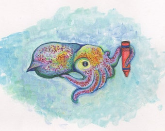 The Squid and the Orange Crayon- a 5x7 print