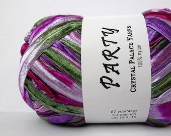 crystal palace party ribbon yarn . violets 414 . 87yds . purple magenta lavender forest green shimmering ribbon . discount destash yarn