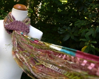 sugar plum forest. fringe benefits scarf™ . wearable fiber art yarns luxury  fringe lariat scarf . mauve green gold teal . fall fashion