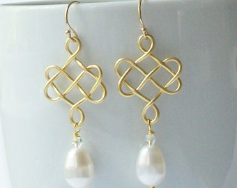 ON SALE Celtic Knot and Pearl Earrings, Pearl Dangle Drop Earrings