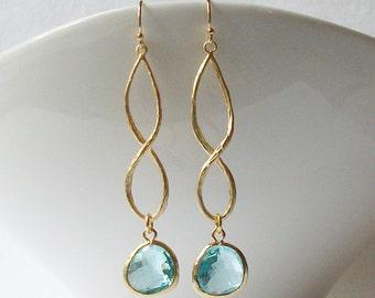 Aquamarine Blue Infinity Earrings, Birthstone Earrings, Cool Infinity Drop Earrings