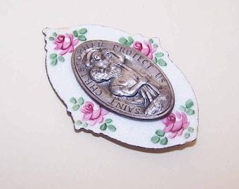 Vintage Car Medal,Silver Tone Metal,Enamel,Religious,Saint Christopher,St. Christopher Medal,Patron Saint,Travellers,Travelling,Pink Roses