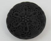 antique black glass Victorian faux crochet