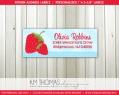 Printable Return Address Labels : Strawberry Return Address Labels - Birthday Return Address Label - Girl Label - Strawberry Party BD123