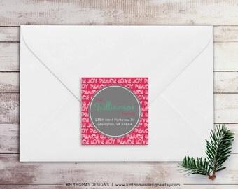 Holiday Return Address Label: Square Label - Peace Love Joy Return Address Label - Christmas Label - Return Address Sticker - WH138