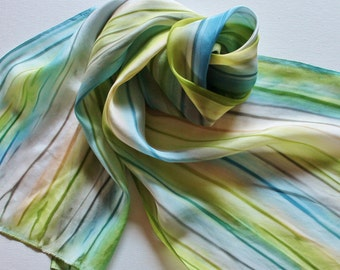 Hand Painted Silk Scarf - Handpainted Scarves Sky Blue Slate Avocado Garden Green Olive Tan Grey Gray Ocean Sea Beach