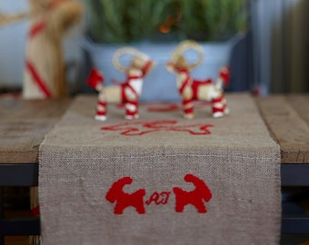 Needlepoint pattern JULBOCK - table runner,embroidery pattern,cross stitch,needlepoint,scandinavian,swedish,christmas decor,red,diy,handmade