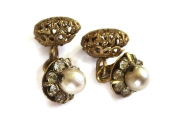 Vintage Cufflinks with Faux Pearls and Rhinestones