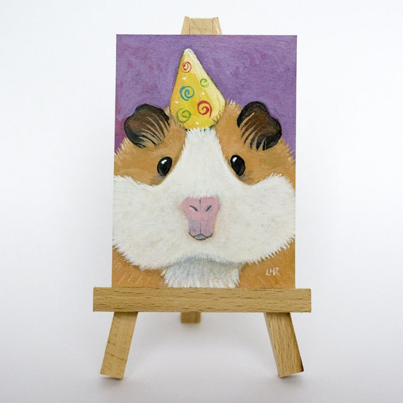 Original ACEO Ginger & White Guinea Pig in a Party Hat, CAVY ART