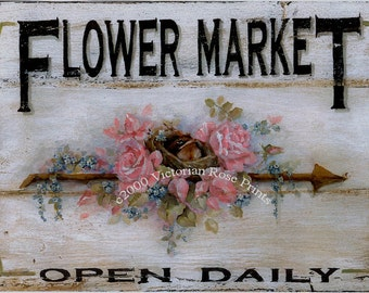 Flower Market, Art Print, Roses Bird Nest Print Garden Robin Rosebud Forget Me Nots, Half Yard Long, Shabby Chic Decor