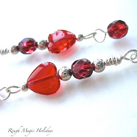 Red Hearts Sterling Silver Earrings, Valentines Jewelry, Long Boho Dangles, Romantic Gifts for Women, Sparkly Holiday Earrings