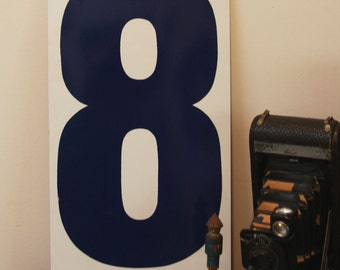 Vintage METAL NUMBER- 8 OR 0- Gas Station Signage- Blue & White Eight or Zero