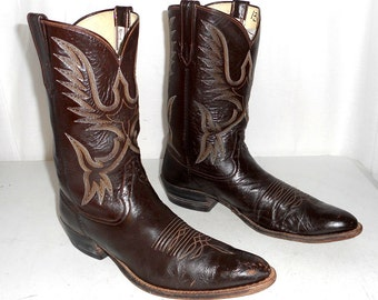 Mens 13 B Cowboy Boots Rios Of Mercedes Brand Chestnut Brown Narrow Width Shoes