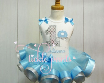 Cinderella princess carriage Birthday Outfit - Blue silver - Includes embroidered top and ruffled tutu - Great for birthdays / Disney trips