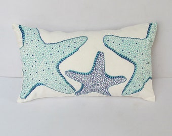 Aqua blue and Cobalt blue star fish pillow. sea theame  pillow cover. embroidered star fish pillow  sale. 20 % off 12 x16 inches- 1 in stock