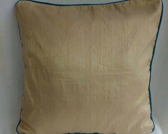 honey gold dupioni cover with teal blue piping.  20x20 inches throw pillow.