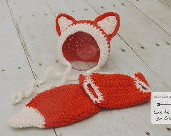 PATTERN Fox Bonnet and Diaper Cover with Tail for Newborn. Instant Download Crochet Pattern